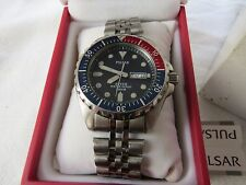 PULSAR QUARTZ PEPSI 200M DIVERS WATCH STAINLESS STEEL SEIKO CORP BOXED AND CASE