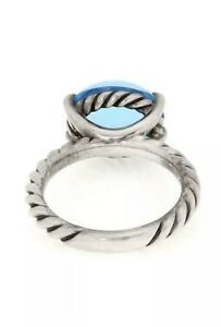 David Yurman Classic Cabochon Blue Topaz 925 Silver Solitaire Cable Ring