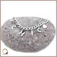 Bracciale da donna in argento 925‰ braccialetto con charms pendenti e catena