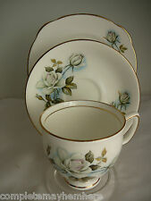 Duchess China trio cup saucer plate white roses made in England high tea party