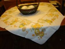 1940'S Vintage 100% Linen Cherries, A Piece Of The Farm Tablecloth
