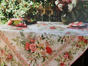 APRIL CORNELL Christmas Merry Antique 60 X104 cotton red/cream   tablecloth NEW