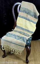 "ANTIQUE CIRCA 1890-1910 HANDWOVEN HEAVY EMBROIDERED FRINGE TABLE RUNNER 19""x74"""