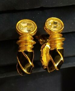 Stunning Gold-Tone Black Enamel Crystal Swarovski Swan Signed Hoop Clip Earrings