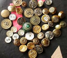 Lot of 41 Metal Buttons Antique Sewing Buttons Glass/Metal Deco Victorian Mixed