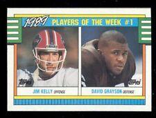 1990 JIM KELLY DAVID GRAYSON Buffalo Bills Cleveland Browns Box Bottom Card