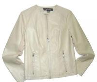 Kenneth Cole Reaction women's Ivory faux Leather full zip Jacket MEDIUM