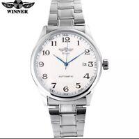 Montre Automatique Mécanique Homme Bracelet Acier Date Cadeau Luxe Neuf Vintage
