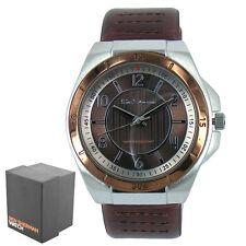 New Genuine Men's Brown Faux Leather Strap Ben Sherman Round Quartz Watch R928