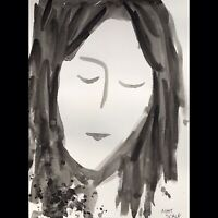 Matt Scalf Woman Portrait Abstract ORIGINAL PAINTING Watercolor 9x12 Girl Face