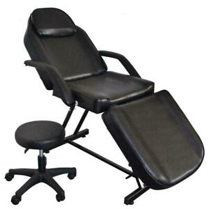 "73"" Adjustable Massage Table Bed Chair w/Stool Beauty Spa Tattoo Salon Black"