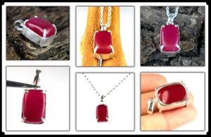 Beautiful Design 40.35 Ct Natural Cabochon Ruby Silver Gemstone Men's Pendant