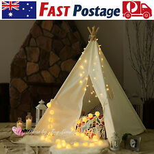 Large Cotton Canvas Kids Teepee Tent With Floor Mat Indoor Outdoor Play House