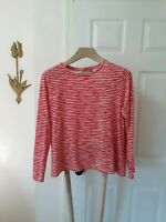 Chico's Size 2 Red & White Striped Top