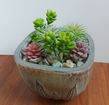 Total 7 Pieces Artificial Succulents Flocking plants and Yacon Pine Trees