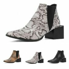 Ladies Snakeskin Print Chelsea Ankle Boots Outdoor Square Toe Block Heel Shoes D
