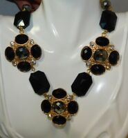 Vintage Chunky Gold tone Black Faceted Beads Cross  Choker Necklace 10i 71