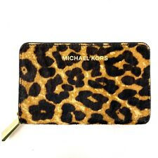 NWOT Michael Kors Hair on Hide Leopard Zip Around Card Wallet