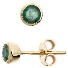 Runde Ohrschmuck im Ohrstecker-Stil mit echten Edelsteinen Smaragd