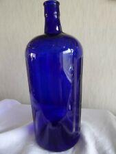 More details for vintage very large blue ribbed poison bottle 12.5