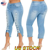 Women High Waisted Denim Jeans Stretchy Skinny Pencil Trousers Pants Plus Size