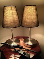"""NEW TABLE LAMPS PAIR OF Brushed Nickel LAMPS WITH BLACK SHADES 11"""" Sleek Modern"""