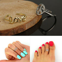 Women's Fashion Toe Ring Simple Peace Sign Adjustable Foot Jewelry Beach SP