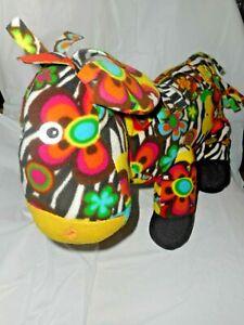 "Melissa & Doug Plush 14"" Tall x 17"" Long Multicolor Flower Print Zebra ""Zelda""!"