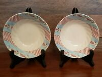 "Set of 2 Johnson Bros Farmhouse Chic 6"" Silky Stripe Coupe Cereal Bowls EUC"