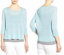 NWT EILEEN FISHER L Large Organic Linen & Nylon Sheer Boxy Sweater Lt Blue