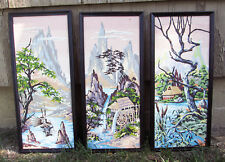 "3 Vtg Paint By Number Paintings Framed 11""x25"" Asian Oriental Landscape PBN Set"