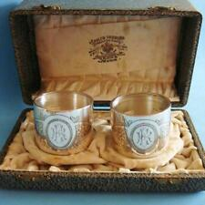 L@@k SUPERB Antique Sterling SILVER Flowers Daisies Pair of Napkin Rings in Case