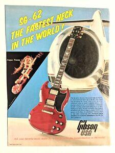 AC/DC / ANGUS YOUNG / 1986 SG-62 GIBSON GUITAR MAGAZINE PRINT ADVERTISEMENT