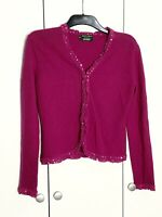 Hobbs 12 Marilyn Anselm Cardigan Lambs wool Angora Silk Trim Hook Eye Closure
