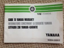 Yamaha Guide to Warranty RD XS 1978