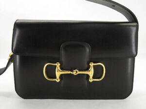 CELINE VINTAGE BLACK LEATHER HORSEBIT SHOULDER BAG EY289