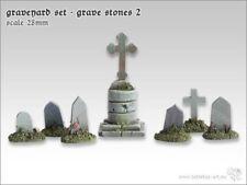Friedhof Set Grave Stones 2 (7) Tabletop Type Base Design Conversion 28mm