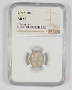 AU53 1899 Barber Dime - Graded NGC *924
