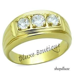 Men's Round Cut Simulated Diamond 14k Gold Plated Stainless Steel Ring Size 8-14