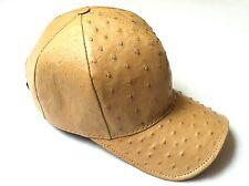 GENUINE OSTRICH SKIN HAT EXOTIC SNAPBACK FULLY LINING TAN, BASBALL,GIVALDI=9446