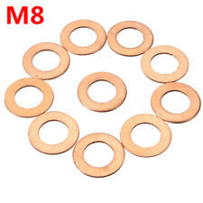 10pc M8 8mm Copper Crush Washers Flat Ring Clutch Oil Brake Line Seal Hose Banjo