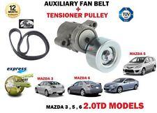 Per Mazda 3 5 6 2.0TD 2.0DT 2005 - > NUOVO Ausiliario Cinghia Del Ventilatore + KIT PULEGGIA TENSIONATORE