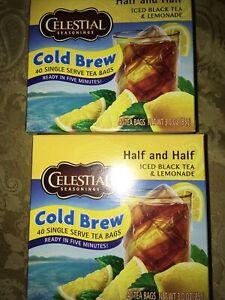 Celestial Seasonings Cold Brew Half And Half Black /Lemonade, 2 Boxes =80 bags