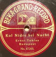 JEWISH YIDDISH 78 RPM- ernst tobias - kol nidrey bei nacht- budapest - beka