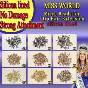Micro Beads (200PS) Silicon Lined for I Tip Hair Extensions  No Damage to Hair