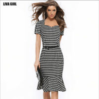 Womens Dress Formal  Casual Office Wear Working Pencil Bodycon Knee Length