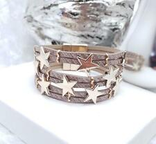 Rose Pink Leather & Gold Star charm MultiLayer Bracelet Bangle cuff, magnetic