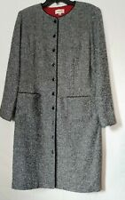 TALBOTS Long Marled Gray Button-Up LS Coat Dress With Front Pockets Size 12