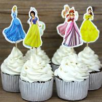 24pcs Princess Cupcake Topper Picks Girl Birthday Party Decoration Cake Supplies