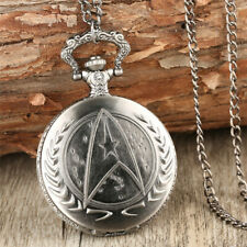 Silver Bronze Star Trek Series Alloy Boy Men Quartz Pocket Watch Pendant Chain
